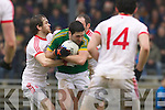 Bryan Sheehan, Kerry in action against Conor Casey Tyrone in the fourth round of the National Football league at Fitzgerald Stadium, Killarney on Sunday.