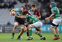 Alex Dombrandt of Harlequins takes on the Newcastle Falcons defence. Premiership Rugby Cup match, between Harlequins and Newcastle Falcons on November 4, 2018 at the Twickenham Stoop in London, England. Photo by: Patrick Khachfe / JMP
