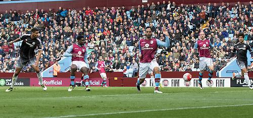 02.04.2016. Villa Park, Birmingham, England. Barclays Premier League. Aston Villa versus Chelsea.  Chelsea midfielder Ruben Loftus-Cheek scoring the matches first goal in the 26th minute (0-1).