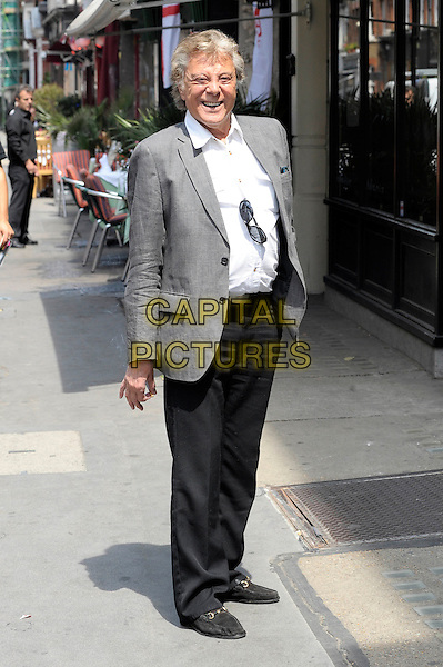 LIONEL BLAIR.Spotted having a quick smoke in London's West End this afternoon, England, UK. .June 23rd, 2010.full length black trousers white shirt grey gray suit jacket.CAP/DYL.©Dylan/Capital Pictures.