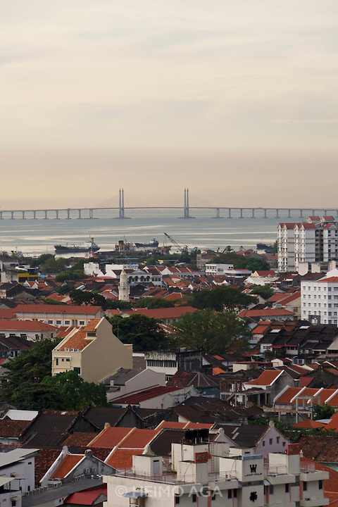 Malaysia, Penang. Penang Bridge seen from George Town.