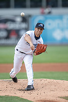 West Michigan Whitecaps pitcher Chance Kirby (17) delivers a pitch to the plate against the Bowling Green Hot Rods on May 21, 2019 at Fifth Third Ballpark in Grand Rapids, Michigan. The Whitecaps defeated the Hot Rods 4-3.  (Andrew Woolley/Four Seam Images)