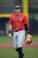 San Diego State Aztecs third baseman Casey Schmitt (8) on defense against the UNCG Spartans at Springs Brooks Stadium on February 16, 2020 in Conway, South Carolina. The Spartans defeated the Aztecs 11-4.  (Brian Westerholt/Four Seam Images)