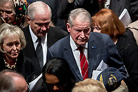 Former Defense Secretary Robert Gates, center left, and former CIA Director William Webster, right, depart following the State Funeral for former President George H.W. Bush at the National Cathedral, Wednesday, Dec. 5, 2018, in Washington.<br /> CAP/MPI/RS<br /> &copy;RS/MPI/Capital Pictures