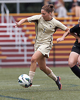 Boston College forward Victoria DiMartino (1) collects a pass within the box. After two overtime periods, Boston College tied University of Central Florida, 2-2, at Newton Campus Field, September 9, 2012.