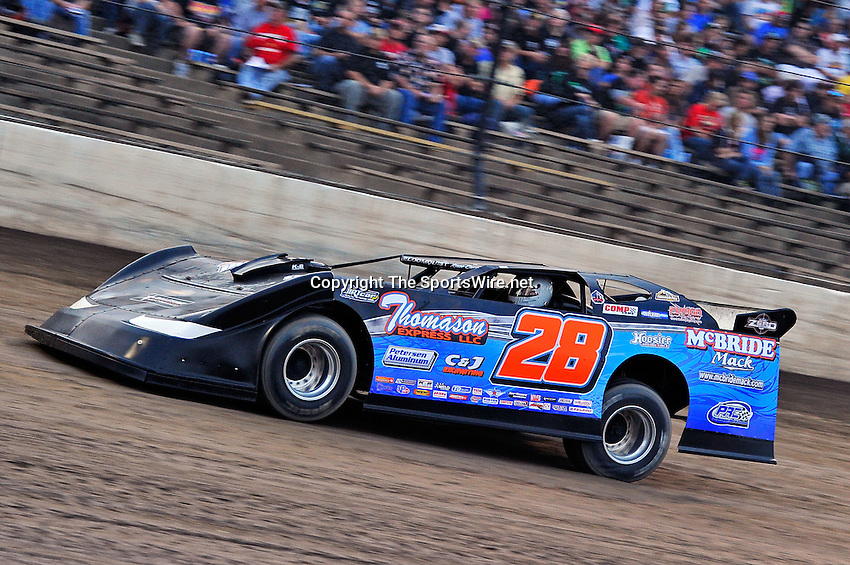 Sep 9, 2011; 7:40:56 PM; Rossburg, OH., USA; The 41st annual running of the World 100 Dirt Late Models racing for the Globe trophy at the Eldora Speedway.  Mandatory Credit: (thesportswire.net)