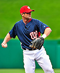 23 April 2010: Washington Nationals' second baseman Adam Kennedy warms up prior to a game against the Los Angeles Dodgers at Nationals Park in Washington, DC. The Nationals defeated the Dodgers 5-1 in the first game of their 3-game series. Mandatory Credit: Ed Wolfstein Photo