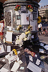 Flamme De La Liberate- A Memorial was erected for The Death of Princess Diana located above the Tunnel of the fatal car crash in Paris, France.<br /> August 31, 1998