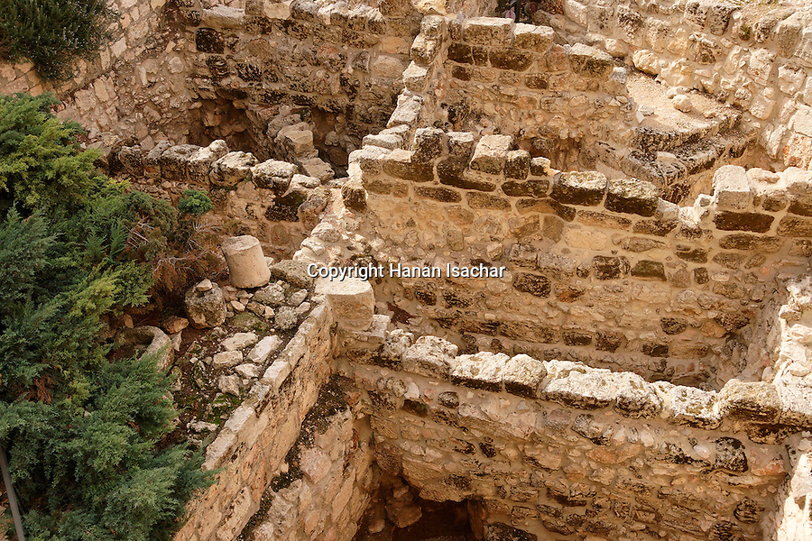 Israel, Jerusalem, The Tower of David museum at the Citadel. The courtyard has archeological remains from various eras<br />