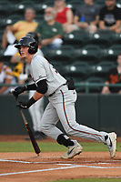 Adley Rutschman (37) of the Delmarva Shorebirds follows through on his swing during game one of the Northern Division, South Atlantic League Playoffs against the Hickory Crawdads at L.P. Frans Stadium on September 4, 2019 in Hickory, North Carolina. The Crawdads defeated the Shorebirds 4-3 to take a 1-0 lead in the series. (Tracy Proffitt/Four Seam Images)