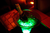 A bottle of champagne in The club LAP located in Hotel Samrat in New Delhi, India. Photograph: Sanjit Das/Panos