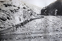 BNPS.co.uk (01202 558833)<br /> Pic: LaceyScott&Knight/BNPS<br /> <br /> Troops marched through spectacular scenery.<br /> <br /> From the far reaches of the British Empire - Remarkable previously unseen photos of a forgotten military campaign has come to light 100 years later.<br /> <br /> The little known Waziristan campaign of 1919 and 1920 saw the British and Indian forces engaged in fierce fighting against Afghan tribesman who invaded northern India.<br /> <br /> However, the conflict, which saw the use of the might of the RAF in targeted bombing raids, has become almost lost to history since it took place just after the Great War.<br /> <br /> The battleground was the rugged, remote, mountainous region which is modern day northern Pakistan, on the southern border of Afghanistan.