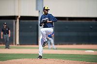 Milwaukee Brewers relief pitcher Freisis Adames (75) delivers a pitch during an Instructional League game against the Los Angeles Dodgers at Maryvale Baseball Park on September 24, 2018 in Phoenix, Arizona. (Zachary Lucy/Four Seam Images)