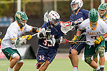Orange, CA 05/16/15 - Andrew Hein (Dayton #32), Jonathan Quickel (Concordia #7), unidentified Concordia player(s) in action during the 2015 MCLA Division II Championship game between Dayton and Concordia, at Chapman University in Orange, California.