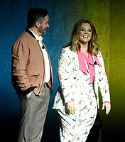LAS VEGAS, NV - APRIL 24: Director/Actor Ben Falcone (L) and actor Melissa McCarthy onstage during the Warner Bros. Pictures presentation at CinemaCon 2018 at The Colosseum at Caesars Palace on April 24, 2018 in Las Vegas, Nevada. (Photo by Frank Micelotta/PictureGroup)