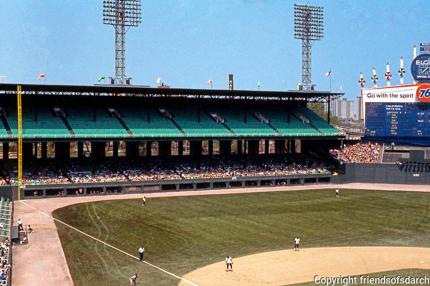 Ballparks: Chicago Comiskey Park. Left field bleachers, 1978.