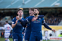 1st February 2020; Cappielow Park, Greenock, Inverclyde, Scotland; Scottish Championship Football, Greenock Morton versus Dundee Football Club; Kane Hemmings of Dundee is congratulated after scoring for 1-0 by Oliver Crankshaw and Shaun Byrne