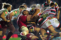 Ellis Genge of Leicester Tigers puts in a big tackle. Aviva Premiership match, between Leicester Tigers and Harlequins on November 20, 2016 at Welford Road in Leicester, England. Photo by: Patrick Khachfe / JMP