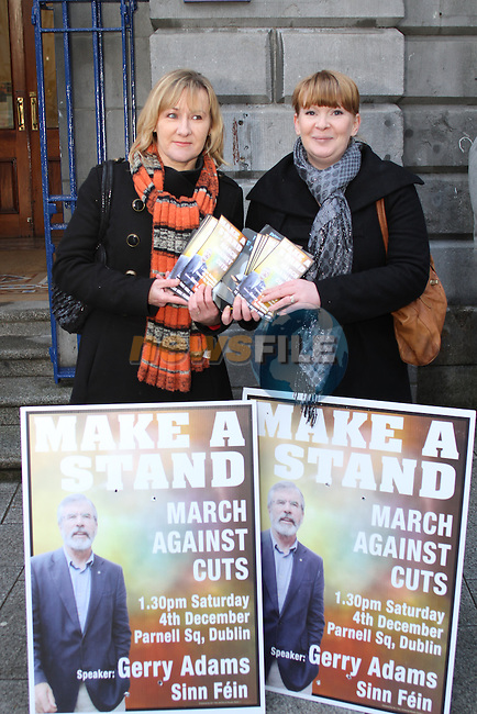 Imelda Munster and Nikki Gavin at Sinn Féin Protest outside the Tholsel, West Street, Drogheda...(Photo credit should read Jenny Matthews www.newsfile.ie)....This Picture has been sent you under the conditions enclosed by:.Newsfile Ltd..The Studio,.Millmount Abbey,.Drogheda,.Co Meath..Ireland..Tel: +353(0)41-9871240.Fax: +353(0)41-9871260.GSM: +353(0)86-2500958.email: pictures@newsfile.ie.www.newsfile.ie.