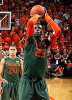 Miami center Tonye Jekiri (23) during an NCAA basketball game Saturday Feb, 24, 2014 in Charlottesville, VA. Virginia defeated Miami 65-40.