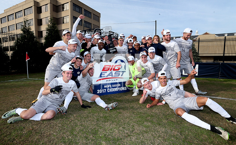 Washington, D.C. - Sunday November 12, 2017: Georgetown University defeated Xavier University 2-1 on a golden goal in overtime in the Big East championship match at Shaw Field.