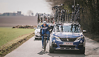 Philippe Gilbert (BEL/Quick Step floors) getting some mechanical assistence on-the-fly<br /> <br /> 50th GP Samyn 2018<br /> Quaregnon &gt; Dour: 200km (BELGIUM)