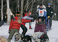 in Anchorage on Saturday March 1st during the ceremonial start day of the 2008 Iidtarod Sled Dog Race.
