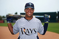 GCL Rays outfielder Garrett Whitley (20) poses for a photo after first game of a doubleheader against the GCL Orioles on August 1, 2015 at the Ed Smith Stadium in Sarasota, Florida.  GCL Orioles defeated the GCL Rays 2-0.  (Mike Janes/Four Seam Images)