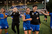 Seattle, Washington - Saturday, July 2nd, 2016: Seattle Reign FC defender Lauren Barnes (3) and Seattle Reign FC midfielder Keelin Winters (11) after a regular season National Women's Soccer League (NWSL) match between the Seattle Reign FC and the Boston Breakers at Memorial Stadium. Seattle won 2-0.