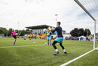Goalkeepers from Wycombe warm up during the pre season friendly match between Slough Town and Wycombe Wanderers at Arbour Park Stadium, Slough, England on 8 July 2017. Photo by Andy Rowland.
