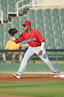 Lakewood BlueClaws first baseman Edwin Rodriguez (26) catches a throw during the game against the Kannapolis Intimidators at Kannapolis Intimidators Stadium on July 7, 2018 in Kannapolis, North Carolina. The Intimidators defeated the BlueClaws 4-3 in 10 innings.  (Brian Westerholt/Four Seam Images)