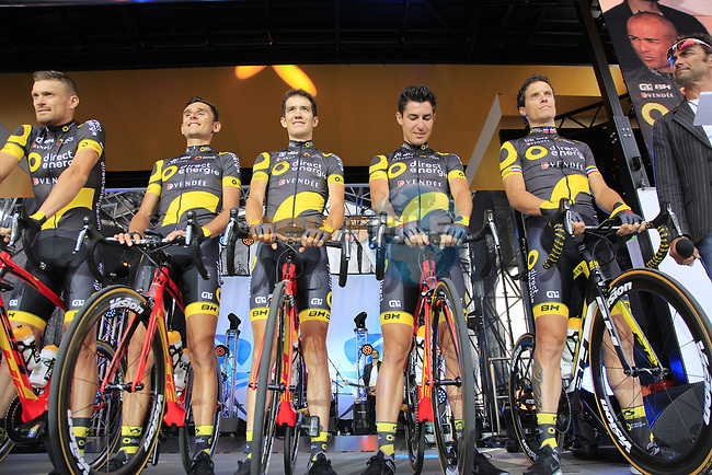 Direct Energie team on stage at the Team Presentation in Burgplatz Dusseldorf before the 104th edition of the Tour de France 2017, Dusseldorf, Germany. 29th June 2017.<br /> Picture: Eoin Clarke | Cyclefile<br /> <br /> <br /> All photos usage must carry mandatory copyright credit (&copy; Cyclefile | Eoin Clarke)