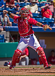 9 March 2014: Washington Nationals catcher Wilson Ramos in Spring Training action against the St. Louis Cardinals at Space Coast Stadium in Viera, Florida. The Nationals defeated the Cardinals 11-1 in Grapefruit League play. Mandatory Credit: Ed Wolfstein Photo *** RAW (NEF) Image File Available ***