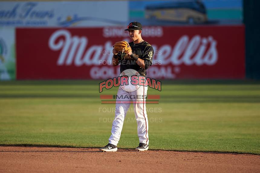 San Jose Giants second baseman Orlando Garcia (21) during a California League game against the Visalia Rawhide on April 13, 2019 at San Jose Municipal Stadium in San Jose, California. Visalia defeated San Jose 4-2. (Zachary Lucy/Four Seam Images)