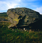 Erratic block of silurian rock deposited by ice on limestone, Norber erratics, Yorkshire Dales national park, England