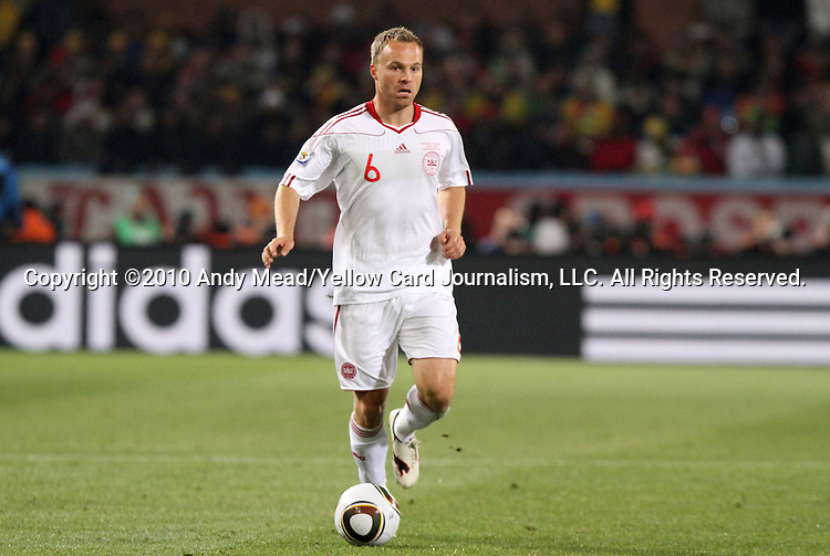19 JUN 2010: Lars Jacobsen (DEN). The Cameroon National Team lost 1-2 to the Denmark National Team at Loftus Versfeld Stadium in Tshwane/Pretoria, South Africa in a 2010 FIFA World Cup Group E match.