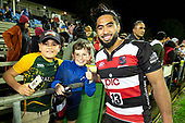 Cardiff Vaega with fans after the Mitre 10 Cup rugby game between Counties Manukau Steelers and Taranaki Bulls, played at Navigation Homes Stadium, Pukekohe on Saturday August 10th 2019. Taranaki won the game 34 - 29 after leading 29 - 19 at halftime.<br /> Photo by Richard Spranger.