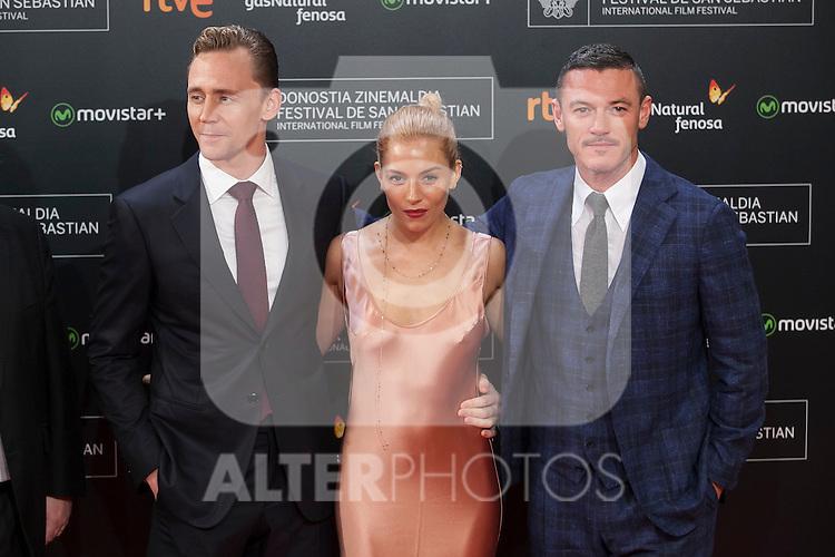 Actors Luke Evans, Sienna Miller and Tom Hiddleston arrive to `High Rise´ film premiere during 63rd Donostia Zinemaldia (San Sebastian International Film Festival) in San Sebastian, Spain. September 22, 2015. (ALTERPHOTOS/Victor Blanco)