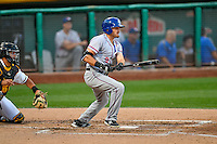 Preston Beck (9) of the Round Rock Express at bat against the Salt Lake Bees in Pacific Coast League action at Smith's Ballpark on August 15, 2016 in Salt Lake City, Utah. Round Rock defeated Salt Lake 5-4.  (Stephen Smith/Four Seam Images)