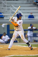 Gregory Valencia (47) of the Kingsport Mets at bat against the Elizabethton Twins at Hunter Wright Stadium on July 9, 2015 in Kingsport, Tennessee.  The Twins defeated the Mets 9-7 in 11 innings. (Brian Westerholt/Four Seam Images)