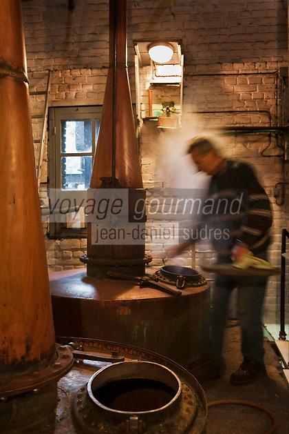 Europe/France/Nord-Pas-de-Calais/62/Pas-de-Calais/ Houlle: Distillerie Persyn- Genièvre de Houlle-le distillateur Julien Mahien  et ses alambics //  France, Pas de Calais, Houlle, Persyn Distillery-Gin distiller Houlle-Julien and its Mahien alambics<br /> <br />  Auto N°: 2009-104