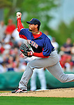 8 March 2012: Boston Red Sox pitcher Josh Beckett in action during a Spring Training game against the St. Louis Cardinals at Roger Dean Stadium in Jupiter, Florida. The Cardinals defeated the Red Sox 9-3 in Grapefruit League action. Mandatory Credit: Ed Wolfstein Photo