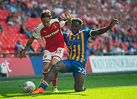 Rotherham Ryan Williams and Shrewsbury Aristote Nsiala during the Sky Bet League 1 Play Off FINAL match between Rotherham United and Shrewsbury Town at Wembley, London, England on 27 May 2018. Photo by Andrew Aleksiejczuk / PRiME Media Images.
