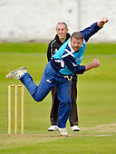 Cricket - Greenock XI v Cricket Scotland Presidents XI to celebrate Greenock CC's 150th Anniversary - at Glenpark - current and former Scotland International players played in the game including former Ranger goalkeeper Andy Goram (here bowling spin past Umpire Mac Wylie) - 26.8.12 - 07702 319 738 - clanmacleod@btinternet.com - www.donald-macleod.com