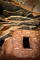 Pictographs of hands adorn the ceiling at Fallen Roof Ruin on Utah's Cedar Mesa.