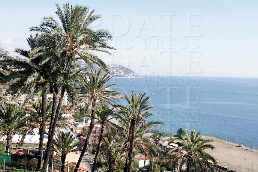 Palme nei pressi di Bordighera.<br /> Palm trees near Bordighera.<br /> UPDATE IMAGES PRESS/Riccardo De Luca