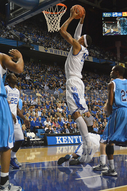 Freshman Forward Willie Cauley-Stein gets a slam dunk during the second half of the University of Kentucky vs. Northwood Basketball exhibition game at Rupp Arean in Lexington, Ky., on, {November} {1}, {2012}. Photo by Jared Glover | Staff