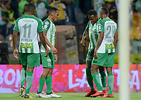 MEDELLÍN - COLOMBIA, 17-03-2018: Gustavo Torres (segundo desde Der) de Atlético Nacional celebra después de anotar un gol a Deportivo Pasto durante partido por la fecha 9 de la Liga Águila I 2018 jugado en el estadio Atanasio Girardot de la ciudad de Medellín. / Gustavo Torres (second from R) payer of Atletico Nacional celebrates after scoring a goal to Deportivo Pasto during match for the date 9 of the Aguila League I 2018 at Atanasio Girardot stadium in Medellin city. Photo: VizzorImage/León Monsalve/Cont