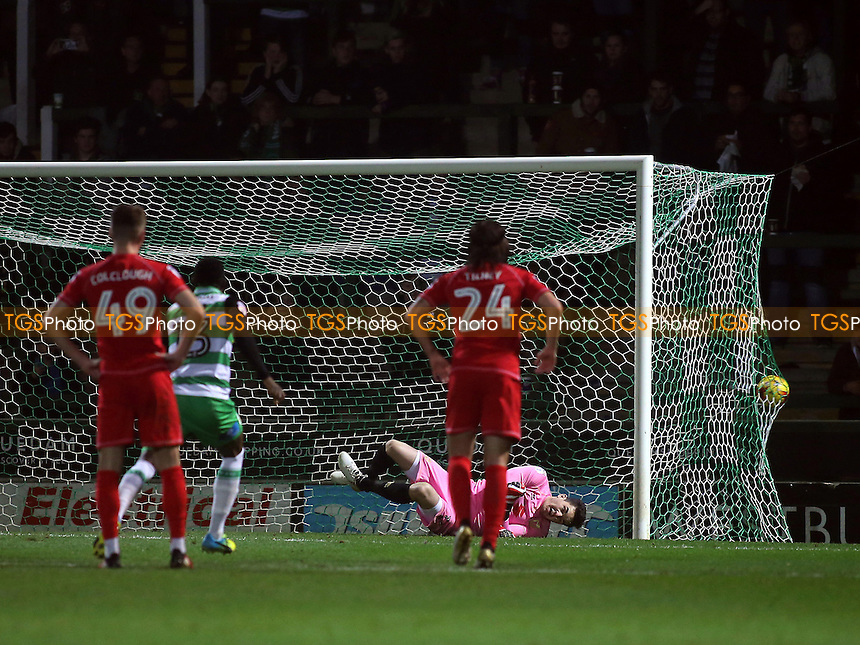 Yeovil's opening goal from the penalty spot during Yeovil Town vs MK Dons, Checkatrade Trophy Football at Huish Park on 6th December 2016