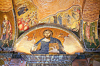 The 11th century Roman Byzantine Church of the Holy Saviour in Chora and its mosaic of Christ Pantocrator over the door leading to the second narex. Endowed between 1315-1321  by the powerful Byzantine statesman and humanist Theodore Metochites. Kariye Museum, Istanbul